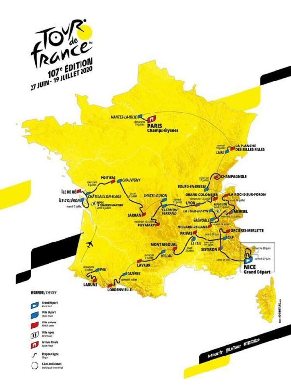 La carte du tour de france 2020 infographie aso 1576680650